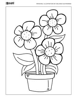 Flower Pot Coloring Page