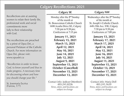Calgary Recollections 2021 Postcard Back
