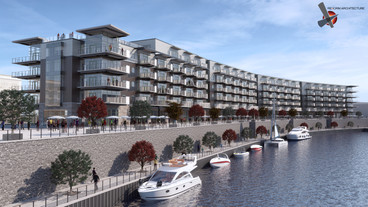 Rent starts at around $1K for Mohawk Harbor apartments