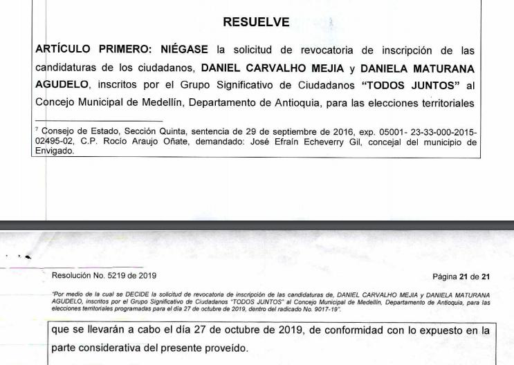 Extracto de la resolución del CNE que mantiene en firme candidaturas al Concejo de Carvalho y Maturana
