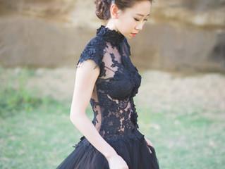 黑紗的復古及白紗的優雅.手作花飾及捧花