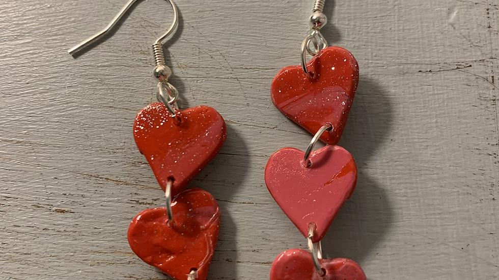 Triple small heart dangles