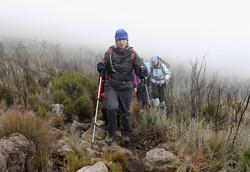 Martina Navratilova treks in the mist on day two of the Martina Navratilova Mt. Kilimanjaro Climb on