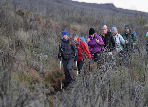 Martina Navratilova leads the group on day two of the Martina Navratilova Mt. Kilimanjaro Climb on D