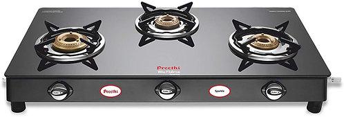 Preethi Blu Flame Sparkle Glass Top 3-Burner Gas Stove, Black