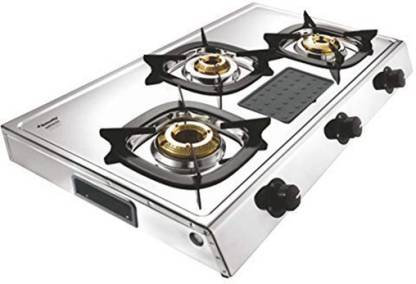 Butterfly Matchless 3 Burner Stainless Steel Manual Gas Stove  (3 Burners)