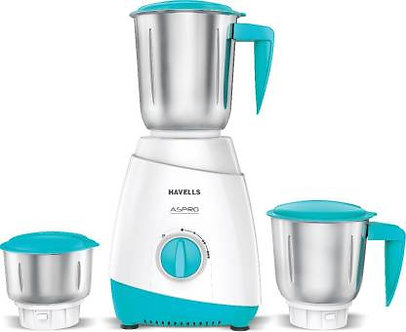 Havells 3 JAR MIXER GRINDER ASPRO 500 W Mixer Grinder  (WHITE-LIGHT BLUE,3 Jars)