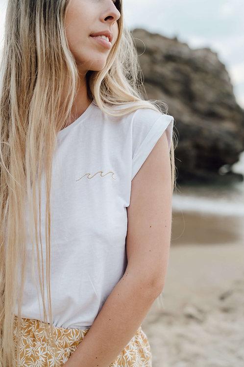 """T-shirt blanc """"wavy"""" brodé"""
