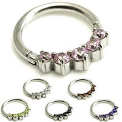 Steel 5 Gems Hinged Micro Ring  - 1.2mm