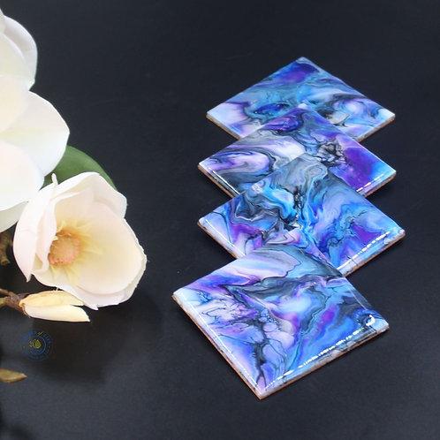 Coaster Set (4 pcs) - Purple Blue