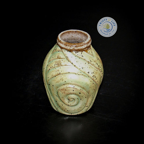 Twists of Life, Hand-carved bud vase, Handcrafted ceramics