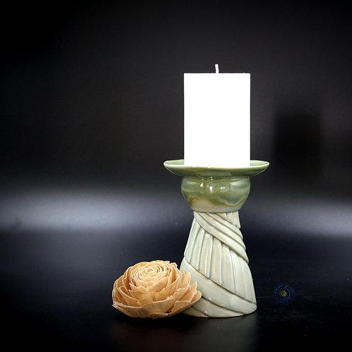 Pillar Candles/Vase - Aqua