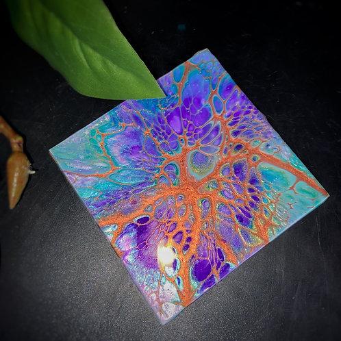 Coaster Set (4 pcs) - Purple & Copper Peacock