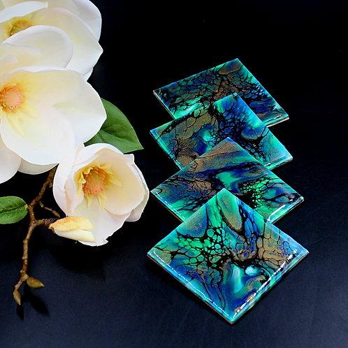 Coaster Set (4 pcs) - Blue & Green Expresso
