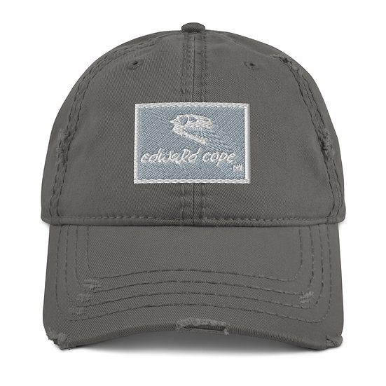 Boxed Distressed Dad Hat w/Skull Side (Grey/Navy)