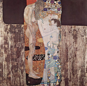 won the gold medal in 1911 International Exhibition, also held in rome.  The painting show a little girl in the protecting arms of a young woman, while beside them an old woman stands with bowed head. The aged crone is symbolic of the passage of time. The Three Ages of Woman falls into Klimt's Golden Period which includes other works such as The Kiss. This period was characterized by high ornamentation and the use of gold and metallic paints.[4] This work also suggest that it is part of the Art Nouveau movement due to the time period and the decorative elements. The Painting is located in Rome at the Galleria Nazionale d'Arte Moderna.