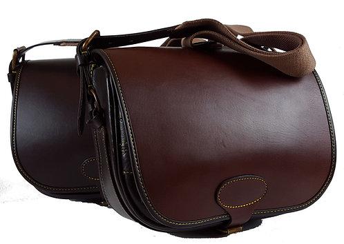 Leather Loaders bag, 200 Cartridges, closed loops, Webbing strap., Dark Brown or 2 Tone with Light Brown Lid