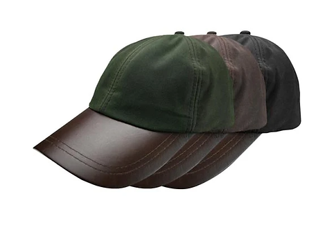 Waxed Cotton Baseball Cap with Leather Peak