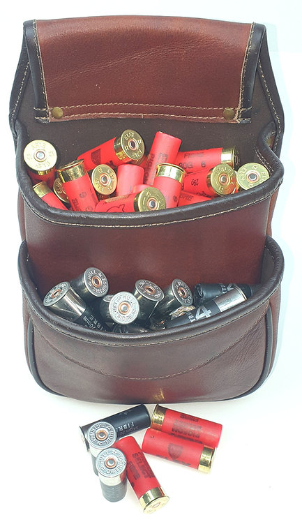New to Durham Decoys, 2 pocket, leather cartridge pouch. Find us at www.durhamdecoys.com