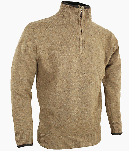 Ashcombe lambswool Zipknit jumper in Barley with contrasting cuffs. Durham decoys & Shooting Supplies
