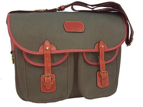 Tarras Bag / Dog Training Bag- Green Canvas & Leather