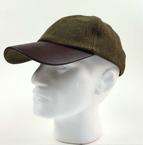 Leather & Dark Tweed Baseball Cap, Dupont Teflon Caoating.