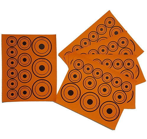 Air Rifle targets - Rifle Targets - fluorescent orange - various sizes - self adhesive - Durham Decoys & Shooting Supplies