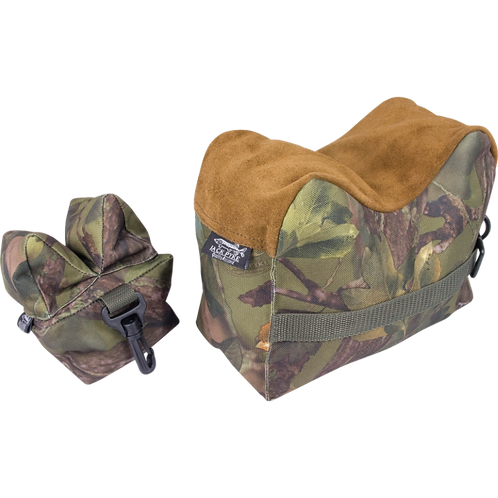 Jack Pyke Rifle Rest Set in Woodland Green Camo Pattern, Suede top.