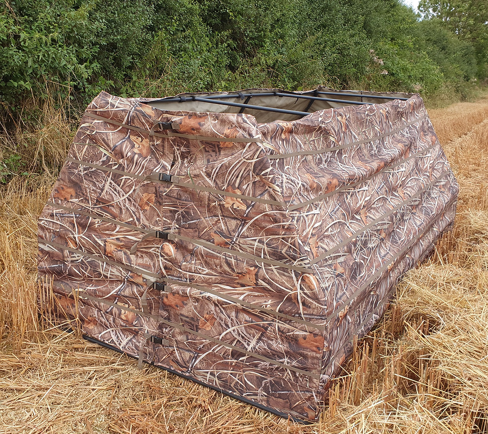 A frame blind in Wildfowler camo', lightweight, durable, portable 4 person hunting blind, hunting hide.