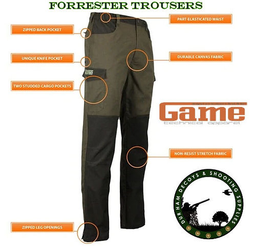 The New Forrester Trousers From Game Technical Apparel available from Durham Decoys & Shooting Supplies now. Lightweight