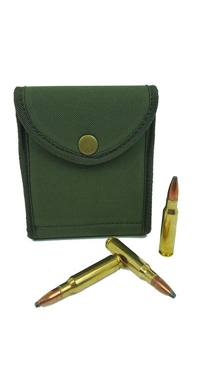 Green cordura bullet wallet, 7 round, elastic loops, 22.25 - 338, Durham Decoys