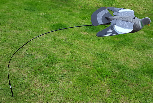 Terminator flying pigeon decoy with decoy storage bag and bouncer pole.