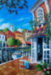 Timeless Romance, new painting of waterfront scene with restaurant by artist Miguel Freitas