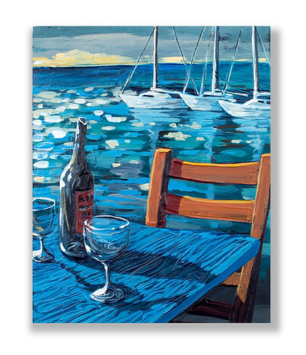 drinks by the marina, painting by Freitas