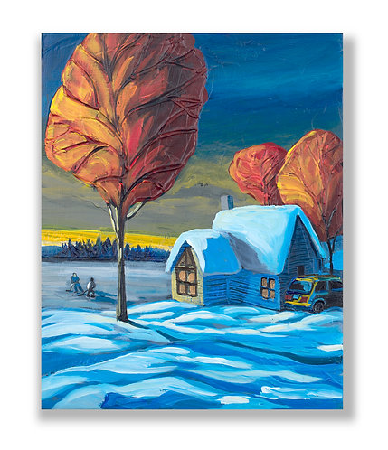 playing hockey on frozen lake by cottage, art by Freitas