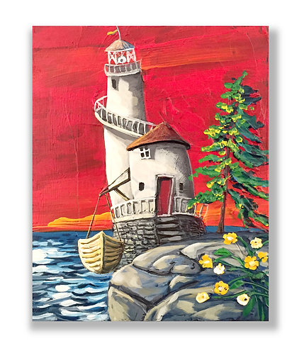 Lighthouse and boat, whimsical art by Freitas