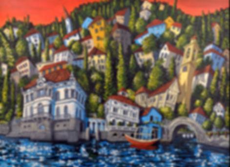 Lake Como Italy, contemporary artwork by Freitas