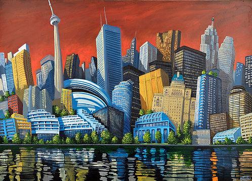Toronto skyline waterfront art by Miguel Freitas