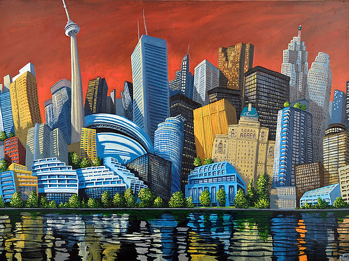 Toronto skyline waterfront art by Miguel Freitas