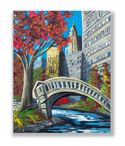 New York central park bridge, painting by Freitas