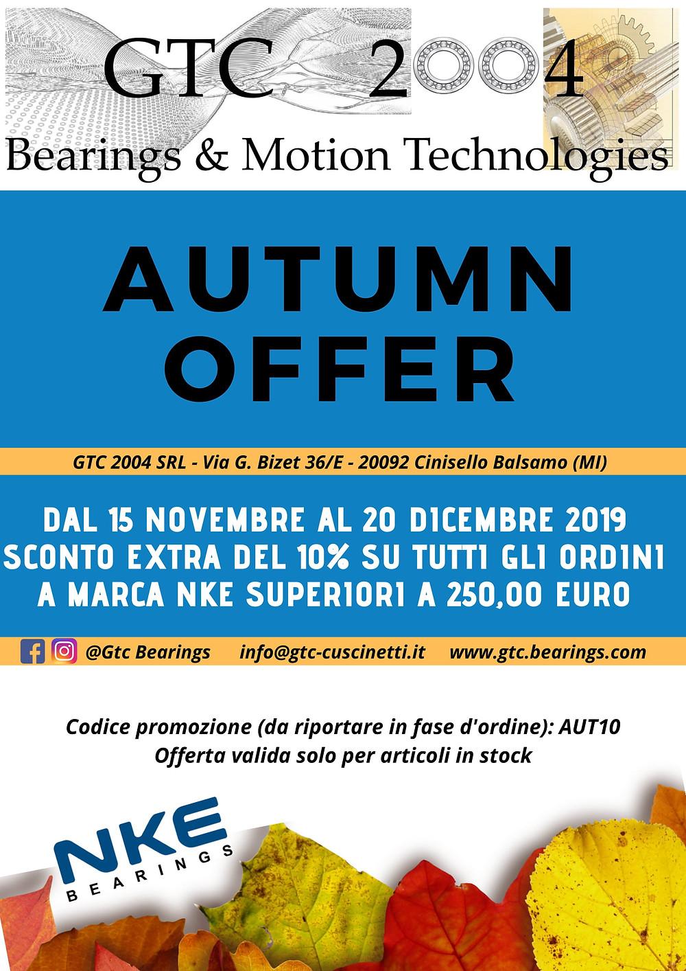 Promozione autunno cuscinetti NKE (cod. promo: AUT10)