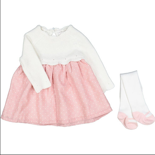 Shabby Chic Pink Dotted Knit Dress & Ballerina Tights Set