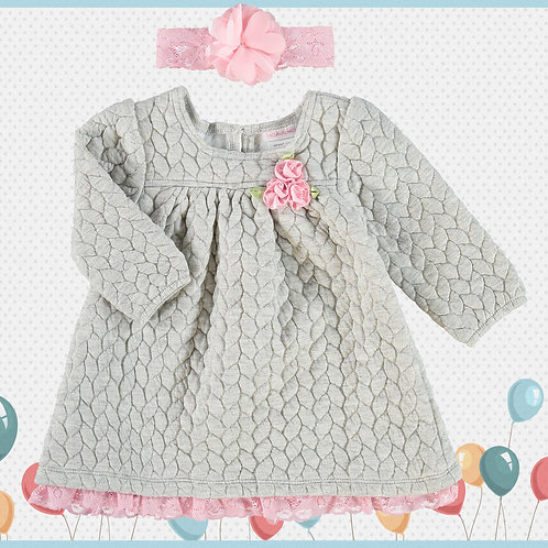 YOUNGLAND Grey Quilted Dress 12m