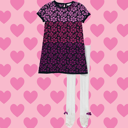 NULA BUG Purple Floral Knitted Dress & White Tights