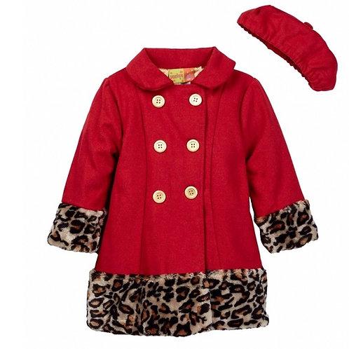 Red Leopard Print Coat & Hat Set