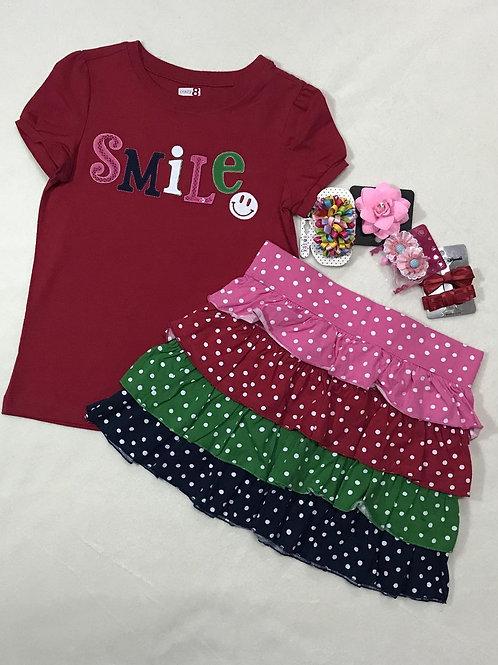 Smile Tee & Ruffle Skirt