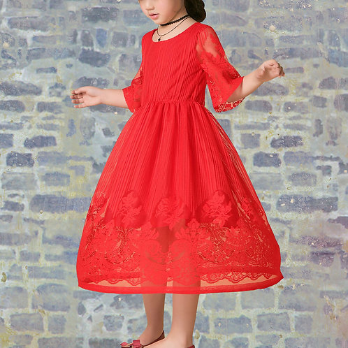 Red lace girl dress