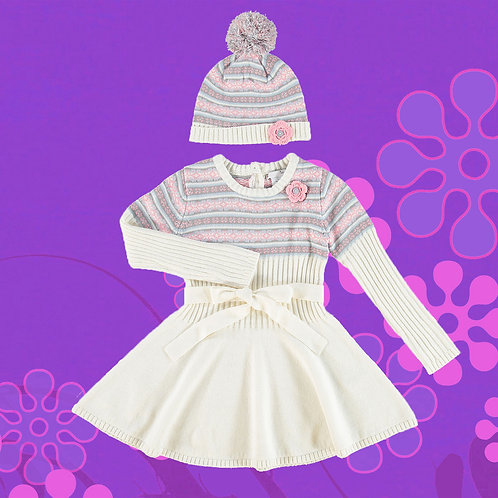 NULA BUG Multicolored Patterned Sweater Dress & Hat