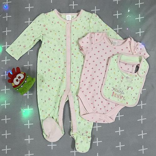 little bunny baby girl 3 pieces bodysuit set