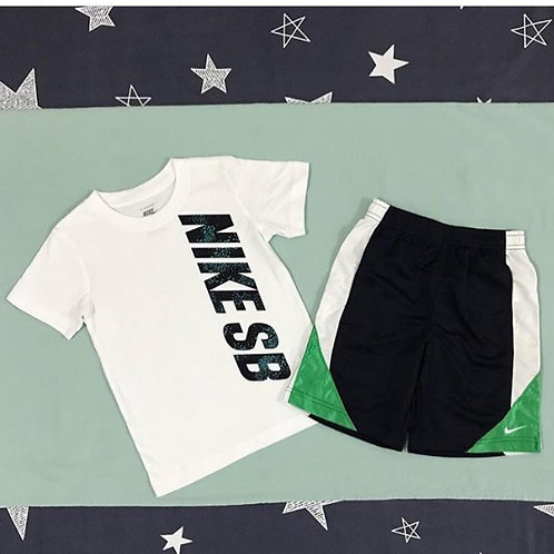 Nike white & green short set